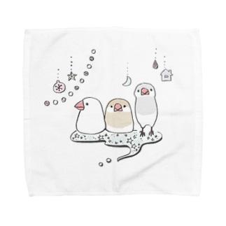 キラキラ文鳥 Towel handkerchiefs