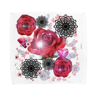 キラキラ花black Towel handkerchiefs