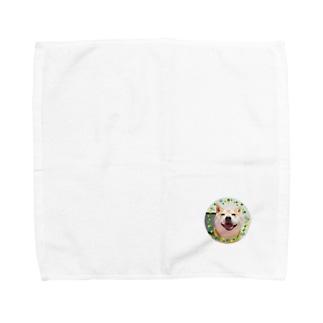 豆柴ビーン丸ワッペン Towel handkerchiefs