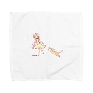 猫との遭遇 Towel handkerchiefs