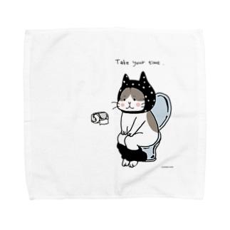トイレねこ 黒 Towel handkerchiefs