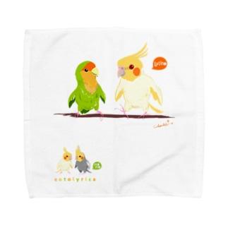 Cotolyrica ルチノーオカメインコとラブバード コザクラインコ Towel handkerchiefs