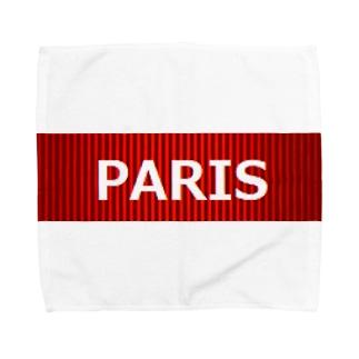 PARIS 赤 タオルハンカチ