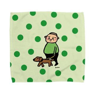 ちっちゃいおじさん岩井係長の散歩 水玉バージョン Towel handkerchiefs