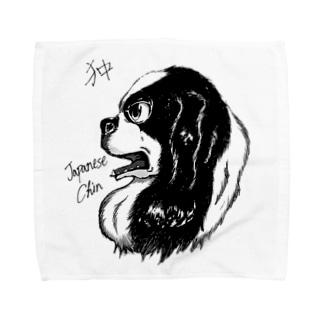 イケメン日本犬 狆 Towel handkerchiefs