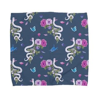 anemone(navy) Towel handkerchiefs