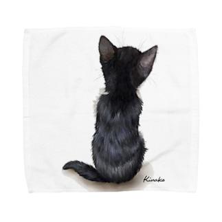 白黒の子猫 タオルハンカチ