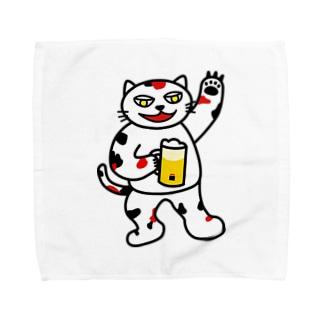 【前田デザイン室 ニャン-T プロジェクト】じゃみぃ飲んでるで〜! Towel handkerchiefs