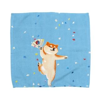 喜ぶ柴犬   (犬) Towel handkerchiefs