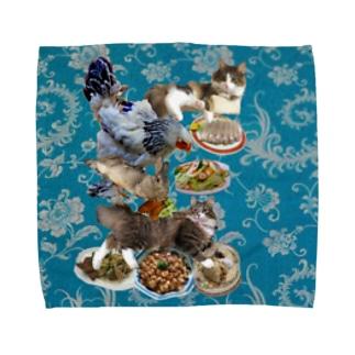 食い散らかし 中華パーティ 青 Towel handkerchiefs