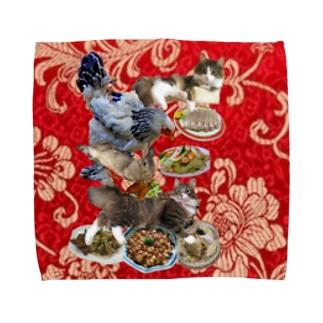 食い散らかし 中華パーティ 赤 Towel handkerchiefs
