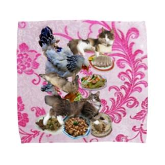 食い散らかし 中華パーティ ピンク Towel handkerchiefs