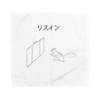 リスイン(モノクロ) Towel handkerchiefs