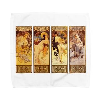 ミュシャ 四季 Towel handkerchiefs