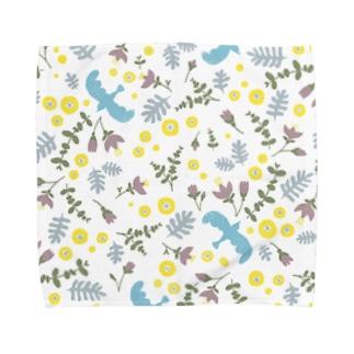 青い鳥と花 Towel handkerchiefs