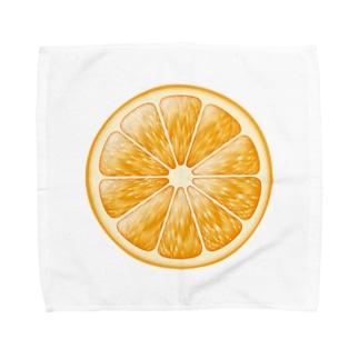 輪切りオレンジのワンポイント Towel Handkerchief