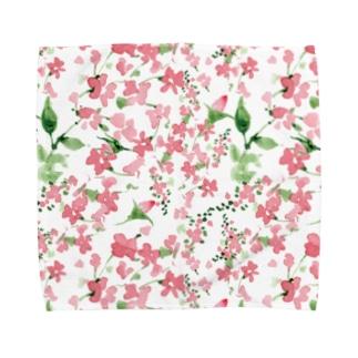 水彩花柄[可愛い 女子向け] Towel handkerchiefs