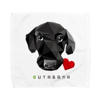 suzusimbaの豚鼻な黒ラブ Towel handkerchiefs