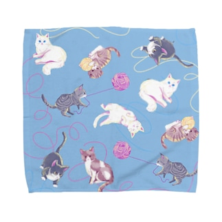 meow meow(blue) タオルハンカチ