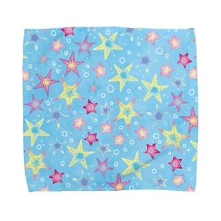 ヒトデぎっしり柄(blue) Towel handkerchiefs