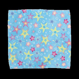 Fanfleecyのヒトデぎっしり柄(blue) Towel handkerchiefs