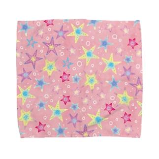 ヒトデぎっしり柄(pink) Towel handkerchiefs