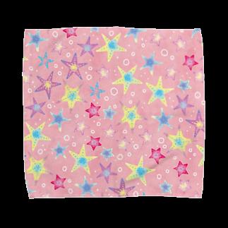 Fanfleecyのヒトデぎっしり柄(pink) タオルハンカチ