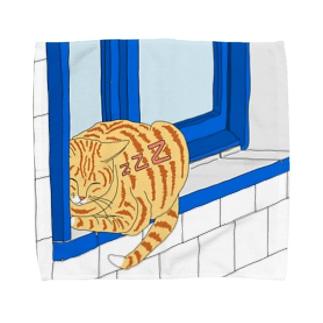 猫どこでも眠れちゃいます。 Towel handkerchiefs