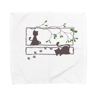 ヤドリギと猫 Towel handkerchiefs