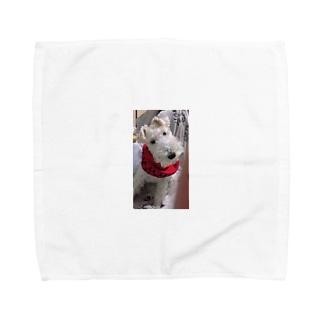 うん?なに?はてな犬 Towel handkerchiefs