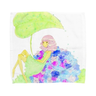 紫陽花と女の子シリーズ* タオルハンカチ