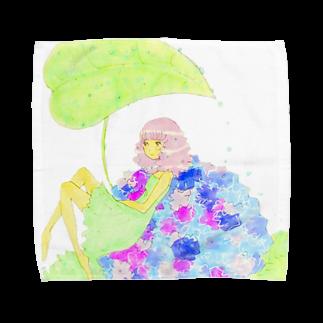 倉田姉妹店の紫陽花と女の子シリーズ* タオルハンカチ