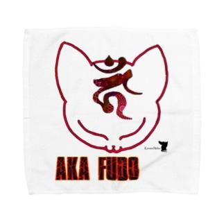 不動ねこ Ver.2 Red Towel handkerchiefs