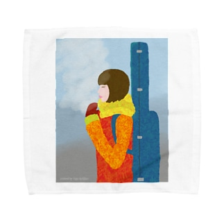 Snow Guitar Girl Towel handkerchiefs