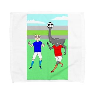 ボールを運ぶゾウ タオルハンカチ