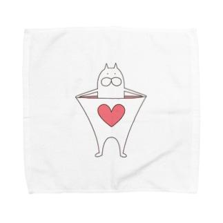 ねこタイツのハートピンク Towel handkerchiefs