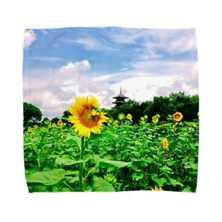 ひまわり畑と五重塔1 Towel handkerchiefs
