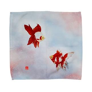 【金魚】琉金~雲竜の関~ Towel handkerchiefs