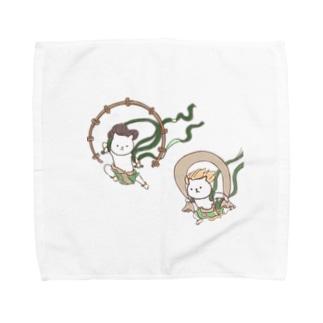 風にゃん雷にゃん図屏風 Towel handkerchiefs
