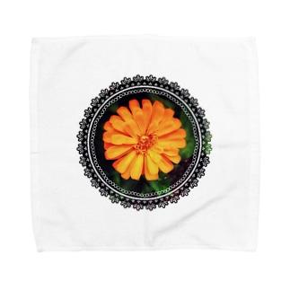 おれんじふらわー(レース) Towel handkerchiefs