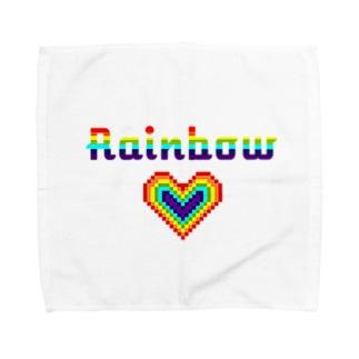 レインボーハート×ピクセルアート Towel handkerchiefs