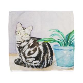ポアロと植え木鉢 Towel handkerchiefs