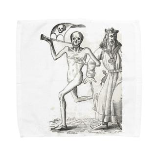 ホルバインの死の舞踏と聖書の木版画 タオルハンカチ