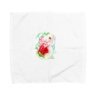 もぐぶーいちご Towel handkerchiefs