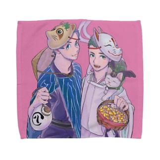 狸と狐 Towel handkerchiefs