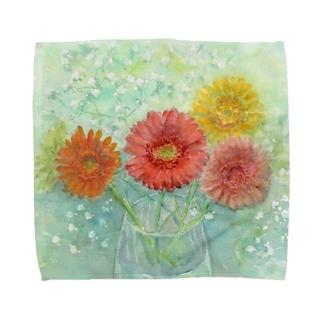 あかり花鳥風月のガーベラとかすみ草2:透明水彩でお花の絵 Towel handkerchiefs