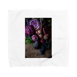 紫の野菜たち Towel handkerchiefs