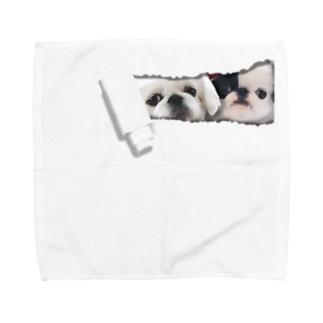 中のペキ&狆 Towel handkerchiefs