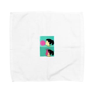 風船と女の子 Towel handkerchiefs