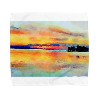 宍道湖の夕日 水彩 Towel handkerchiefs